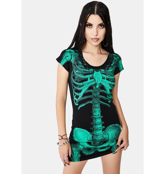 Kreepsville 666 Green Glow Skeleton Tunic Dress