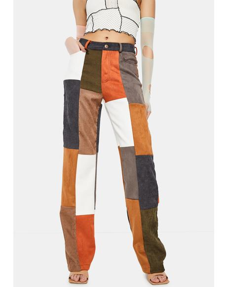 Mixed Patchwork Cord Wide Leg Trousers