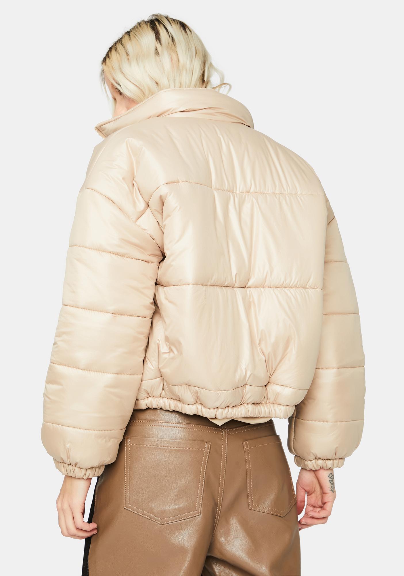 Beige Wandering Campus Puffer Jacket
