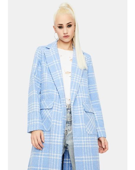 Light Blue Check Longline Coat