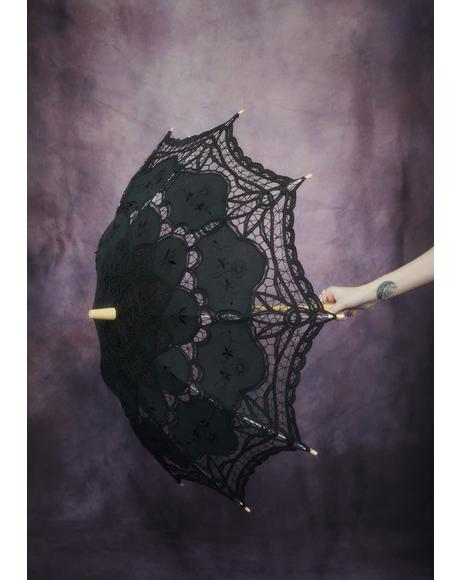 Waltz After Midnight Lace Parasol