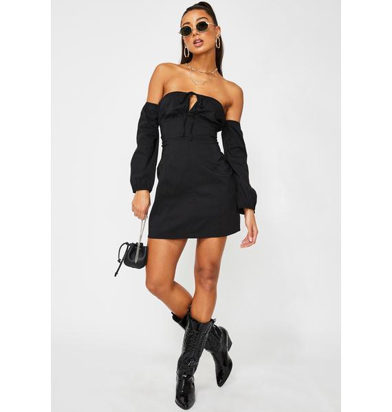 Glamorous Black Mini Off Shoulder Dress