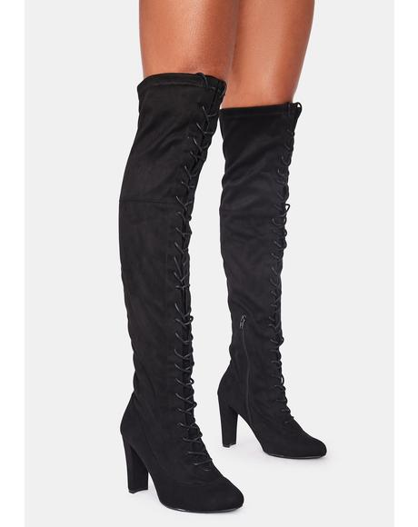 Run The Club Thigh High Boots