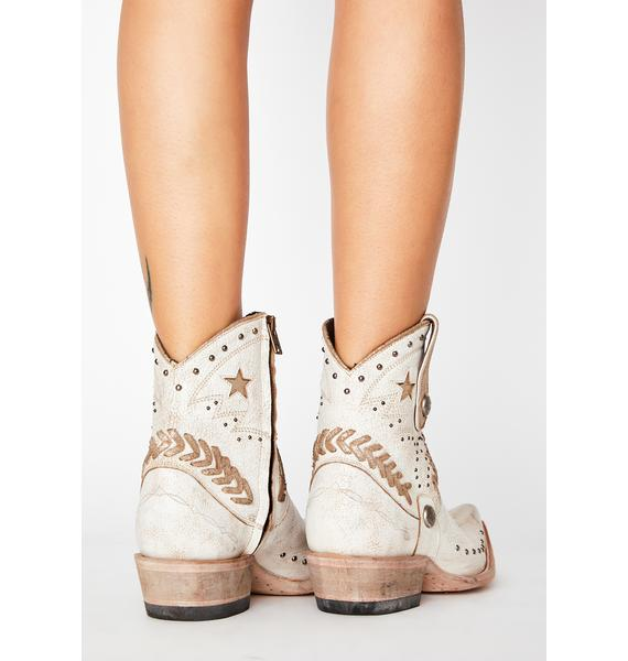 OLD GRINGO Crackled Taupe Leather Cowgirl Boots