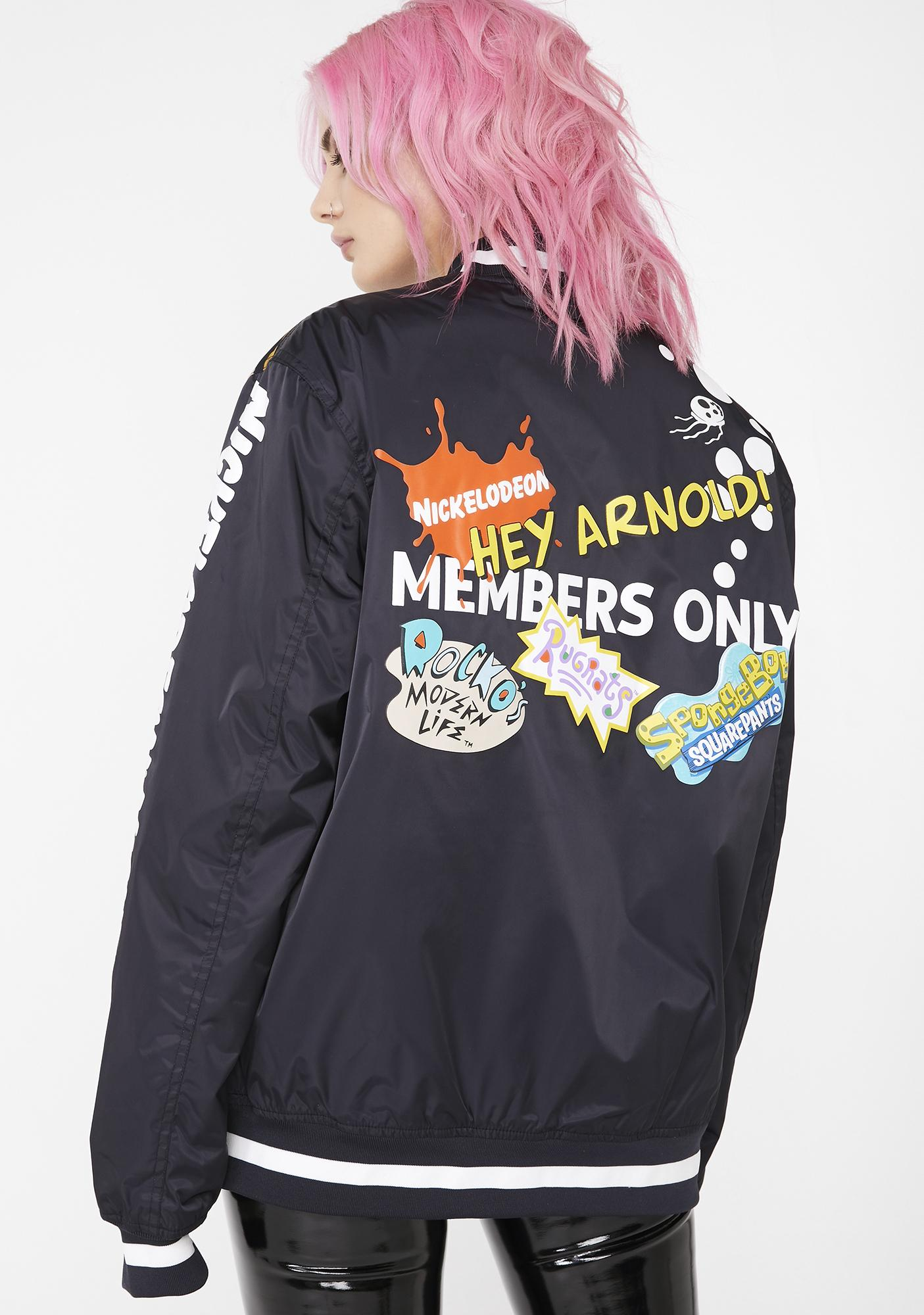 Members Only x Nickelodeon Mesh Print Bomber Jacket