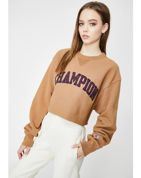 Brown Sepia Vintage Wash Crop Crewneck