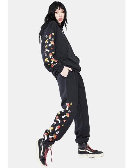 Black Shroom Graphic Sweatpants