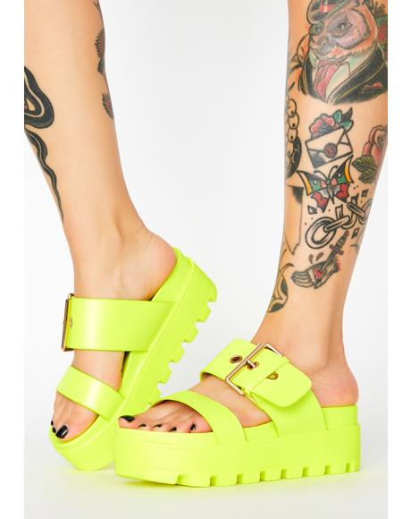Lemon Settle Down Platform Sandals