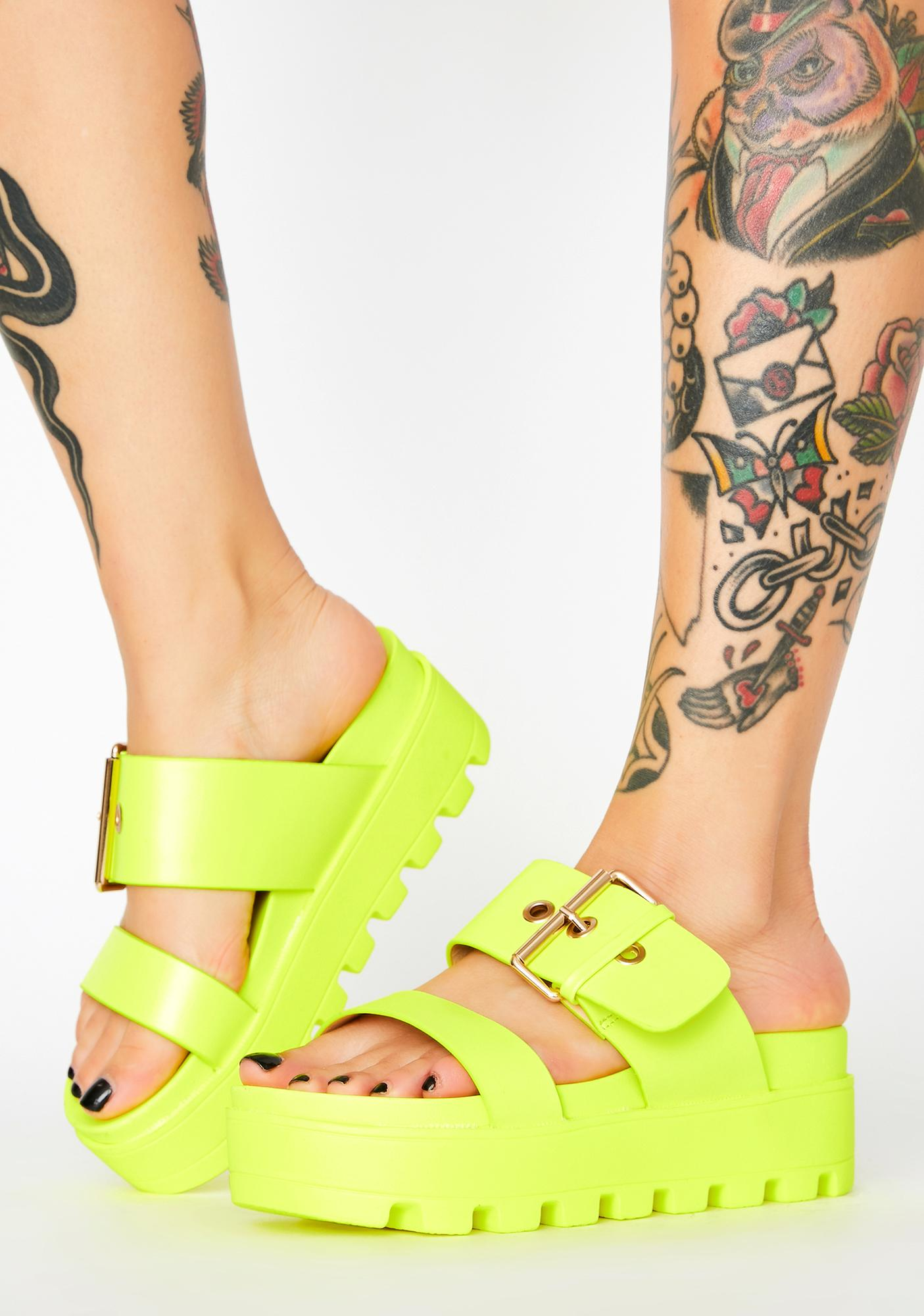 Neon Yellow Chunky Platform Sandals