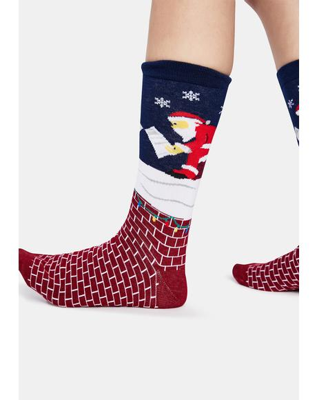 Santa Leaving A Gift Crew Socks