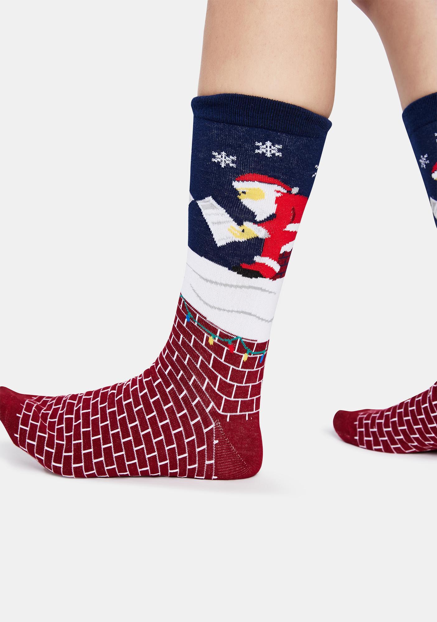 Tipsy Elves Santa Leaving A Gift Crew Socks