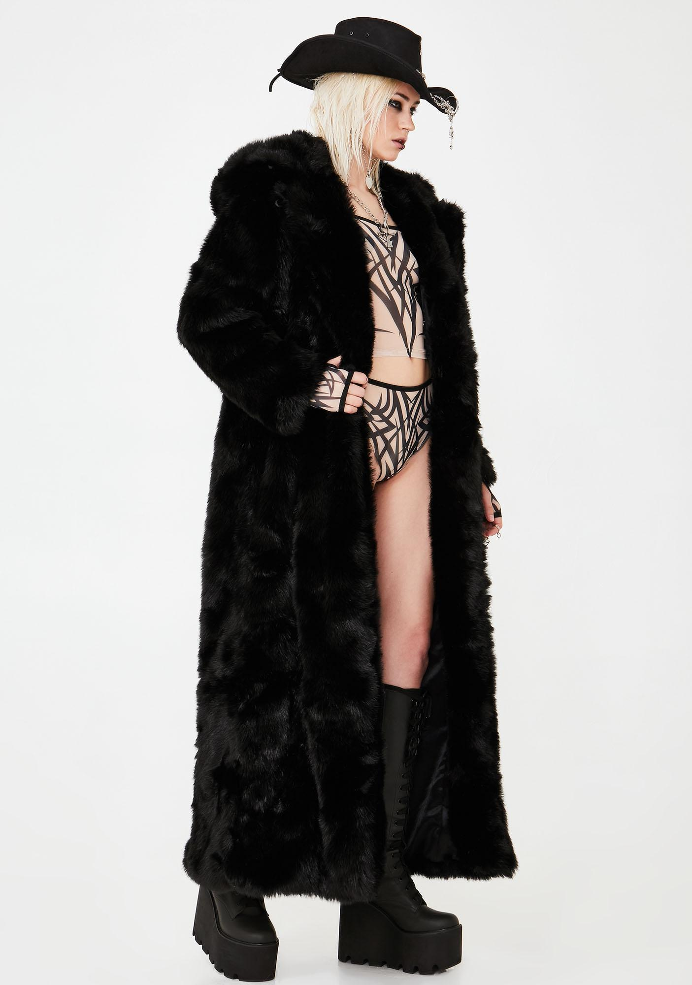 8d3aa1d3667e SpiritHoods Classic Black Wolf Long Faux Fur Coat | Dolls Kill