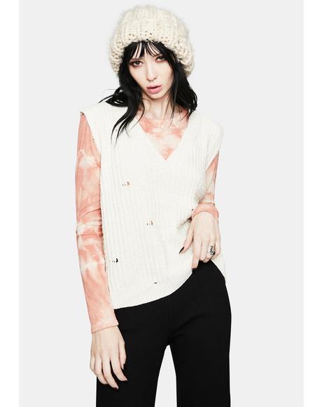 Hottie in Distressed Knit Sweater Vest