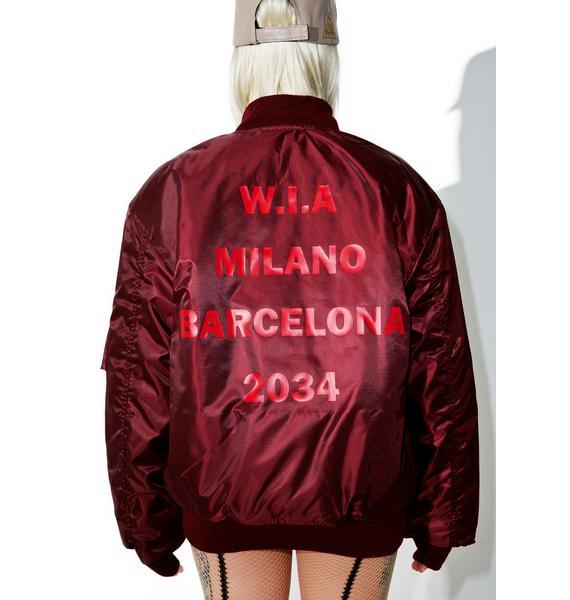 W.I.A Burgundy 2034 Reversible Bomber