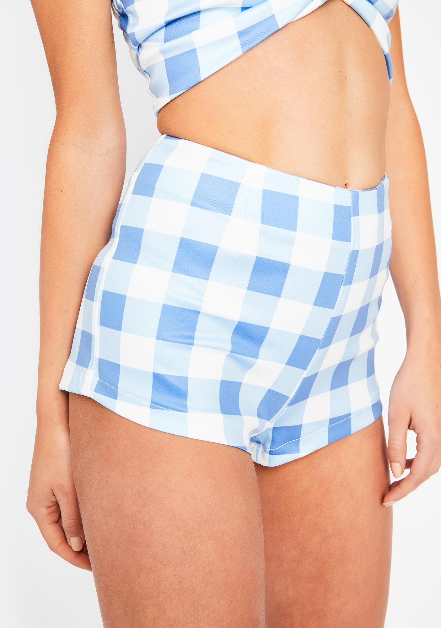 Sky Somebody Like U Checkered Shorts