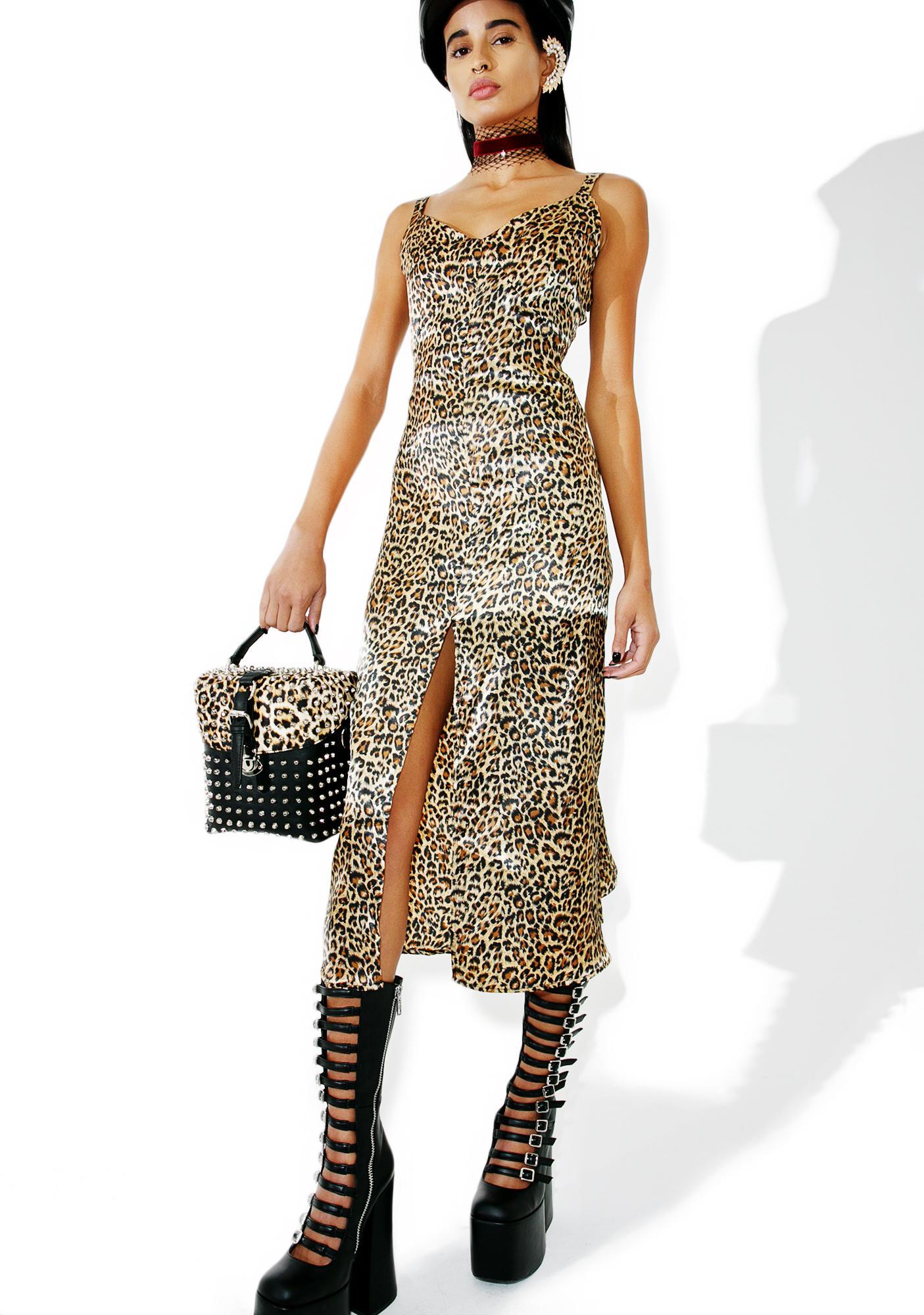 472e3c142c Satin Leopard Print Dress