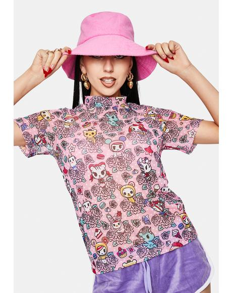 Flowery Friends Short Sleeve Mock Turtleneck