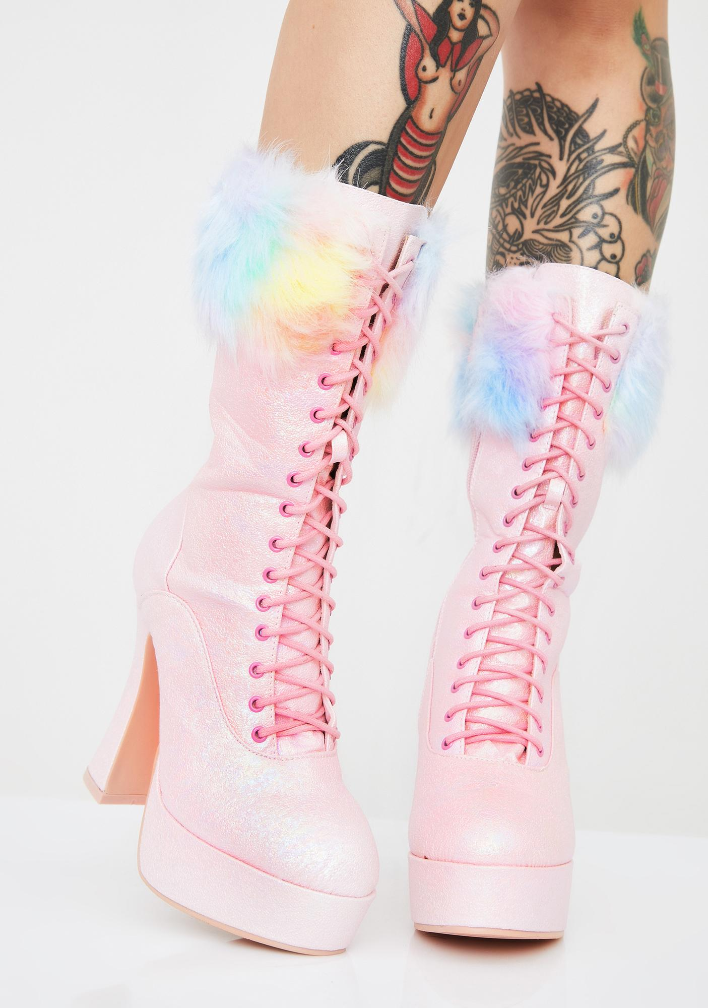 Cotton Candy Chaos Platform Boots