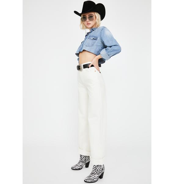 Levis Off White Ribcage Wide Leg Jeans