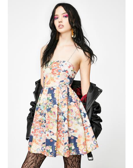 Diamante Strap Floral Metallic Dress