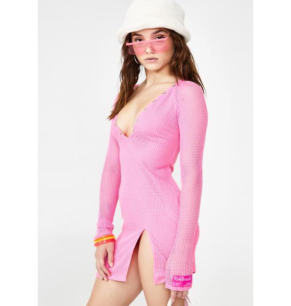 Ricki Brazil Rich Pink Henley Dress