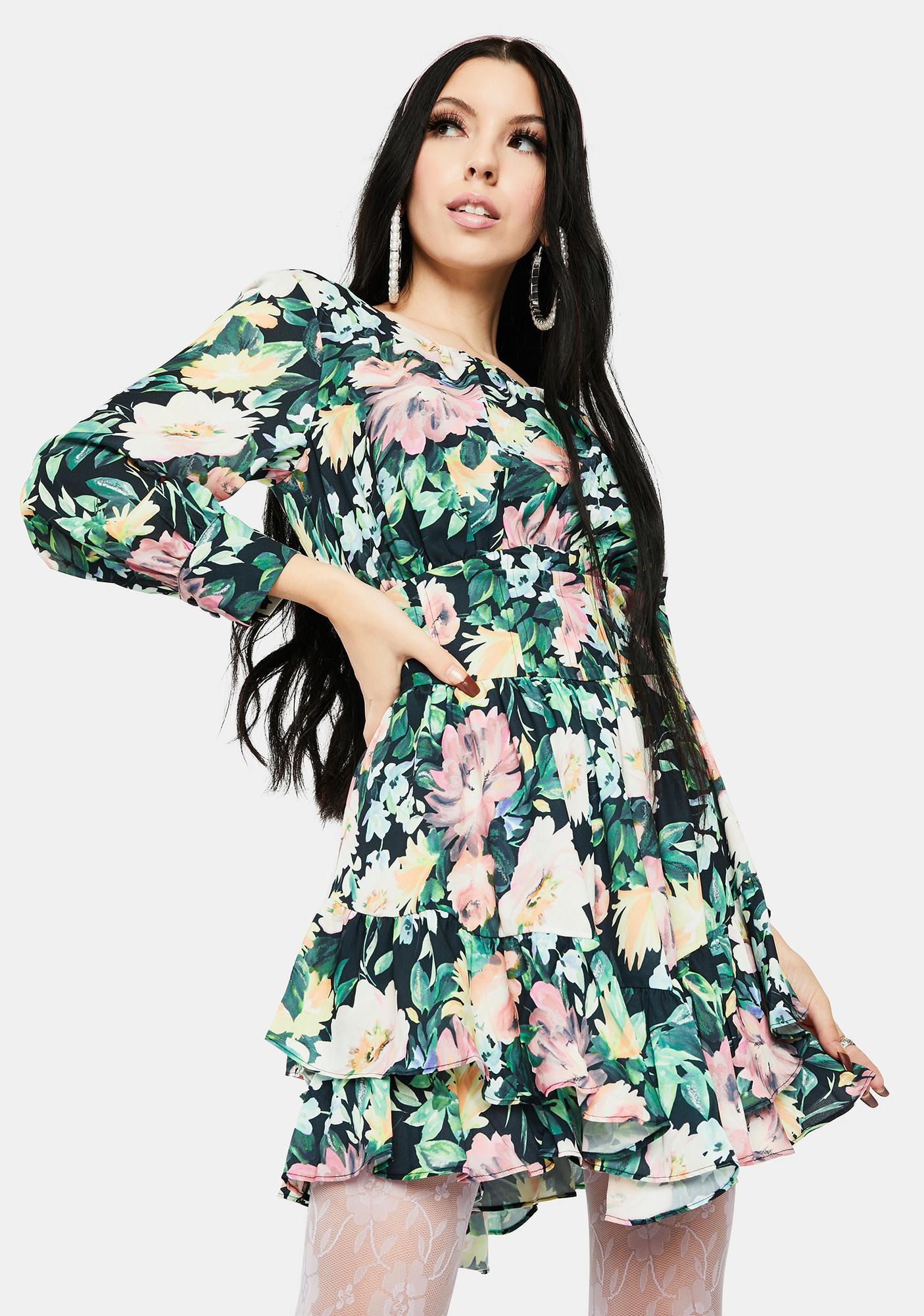 For Love & Lemons Shiloh Floral Mini Dress