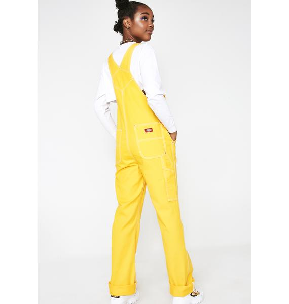 Dickies Girl Canary Relaxed Twill Overalls