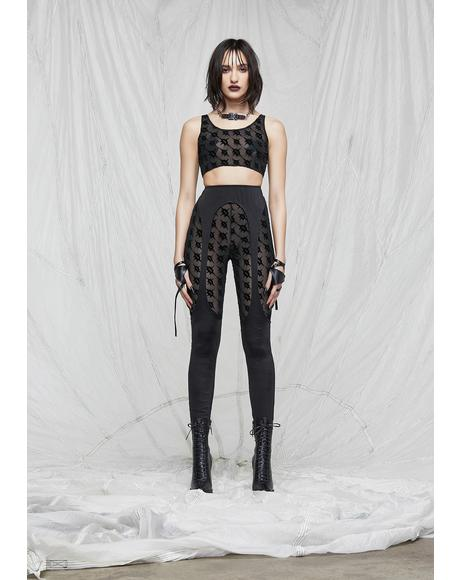 Synth Layered Logo Print Mesh Leggings
