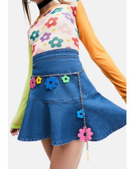 Good Vibes Only Flower Chain Belt