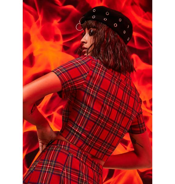 Current Mood Anything But Ordinary Plaid Crop Top