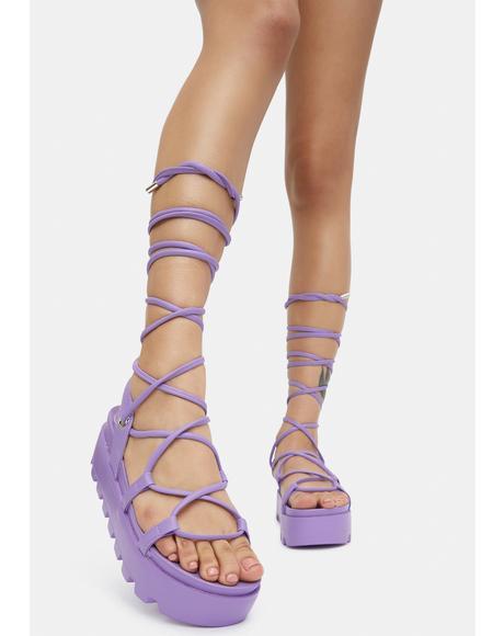 Lilac Go All Out Lace Up Platform Sandals