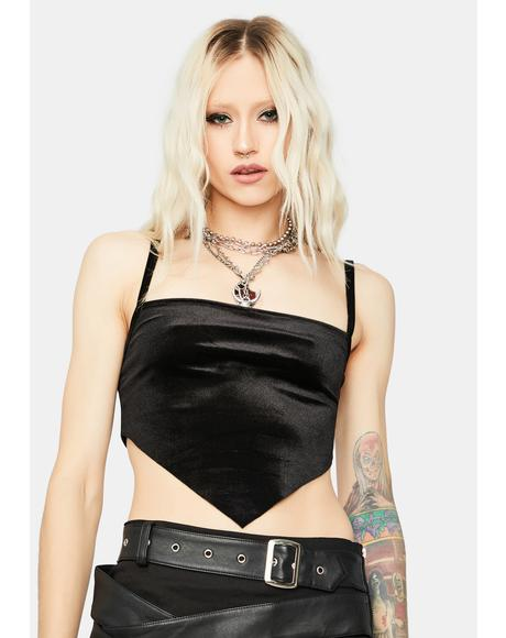 Night Bad Girls Love U Velvet Crop Top