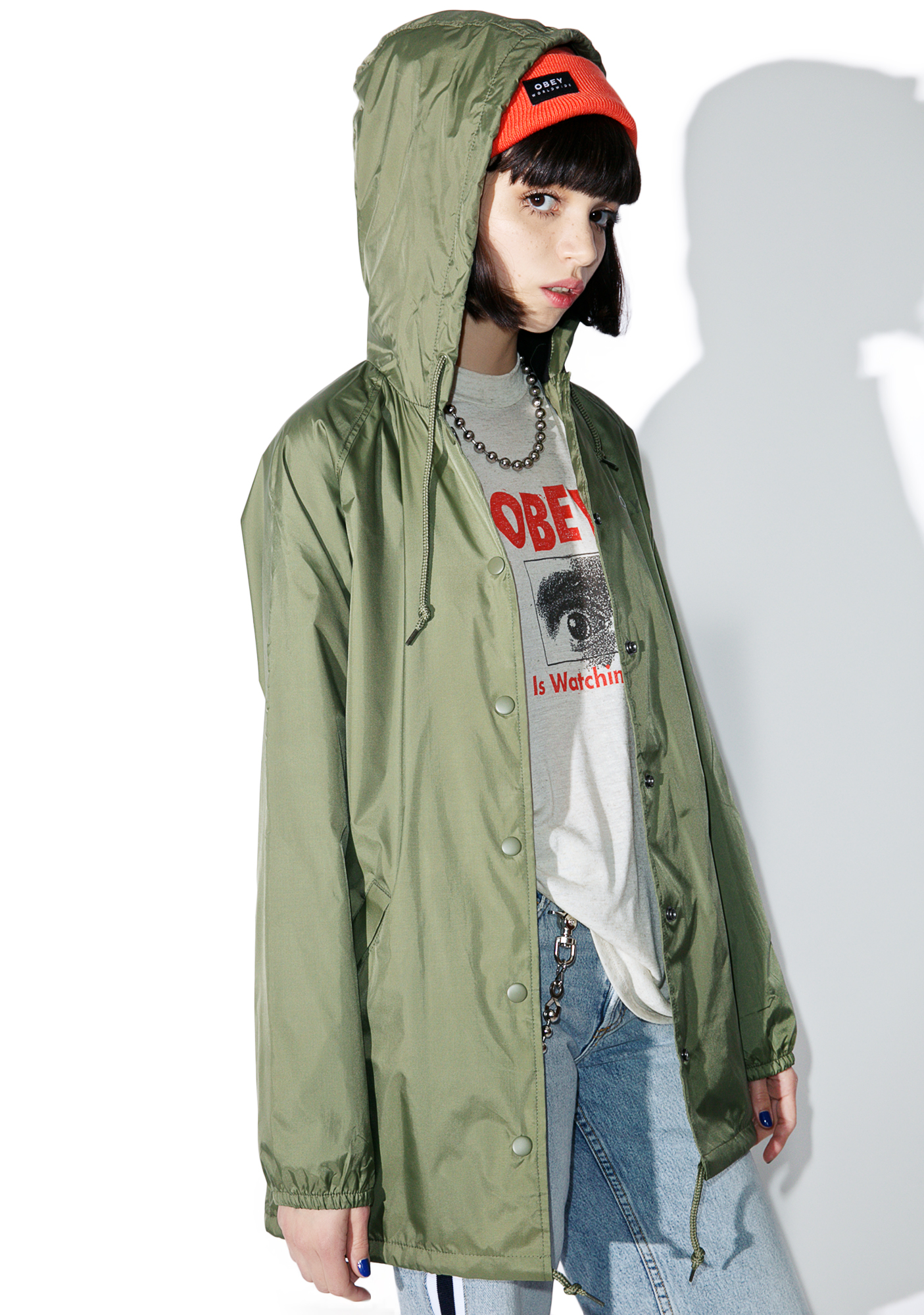 Obey Hooded Logo Coaches Jacket