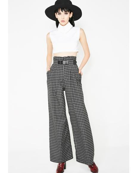 Grid Lock Belted Pants