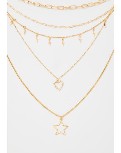 Baddie Star Layered Chain Necklace