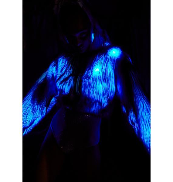 J Valentine Light-Up Faux Fur Cropped Jacket