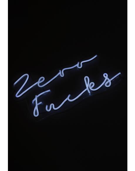 Zero Fucks Wall Neon Light