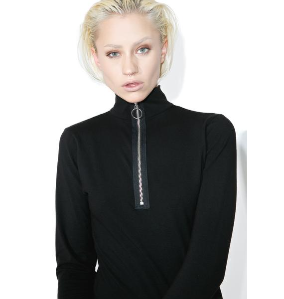 Slick Zip Long Sleeve Top