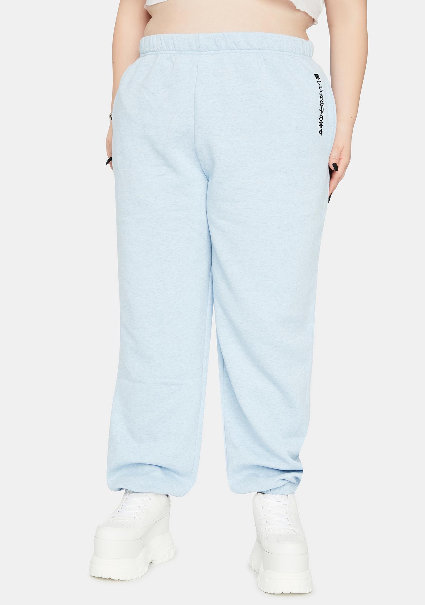 NEW GIRL ORDER Curve Blue Kanji Jogger Sweatpants