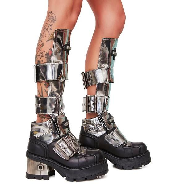 New Rock Buckled Up Chrome Boots