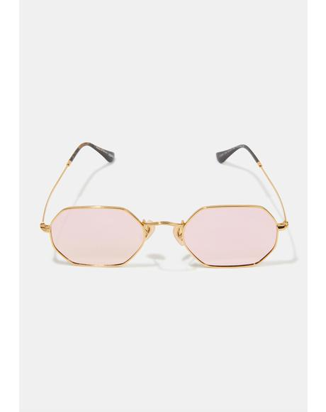 Jones Gold Pink Oval Sunglasses