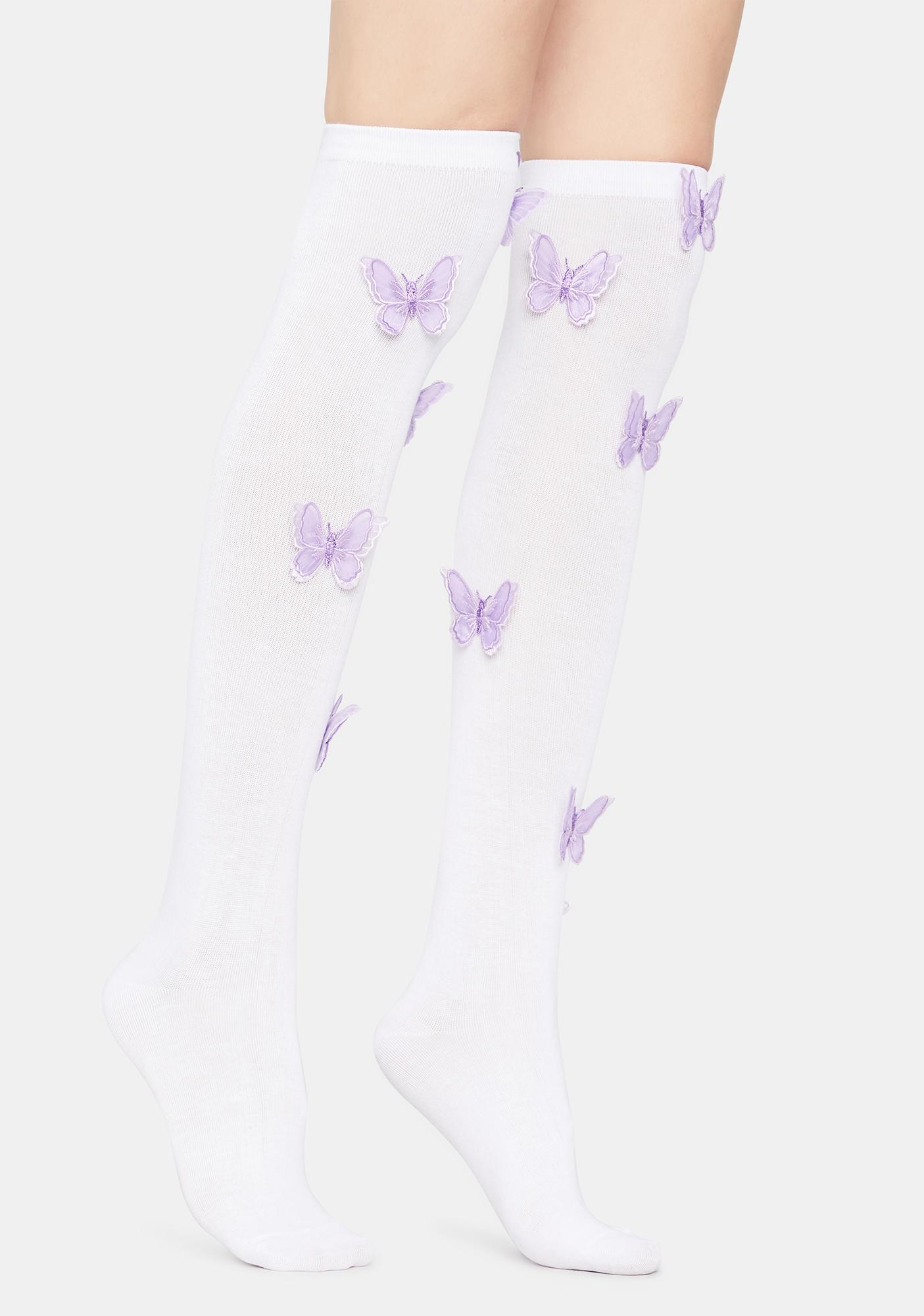 Floating Dreams Over The Knee Butterfly Socks