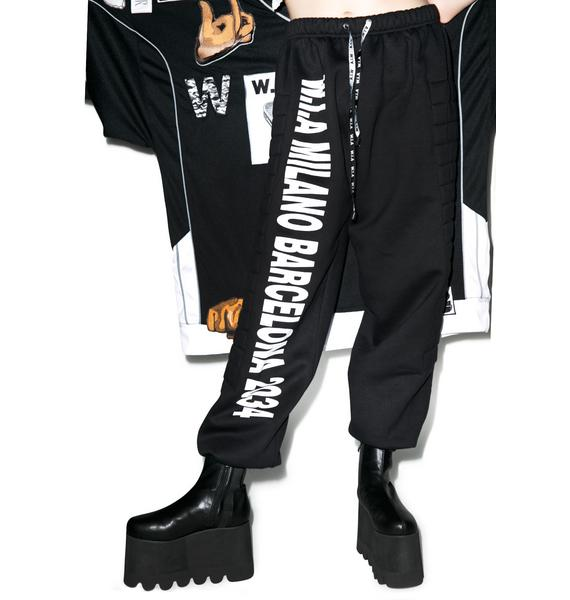 W.I.A Black Padding Sweat Pants