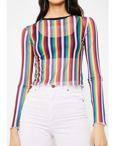 Vertical Rainbow Stripe Mesh Top