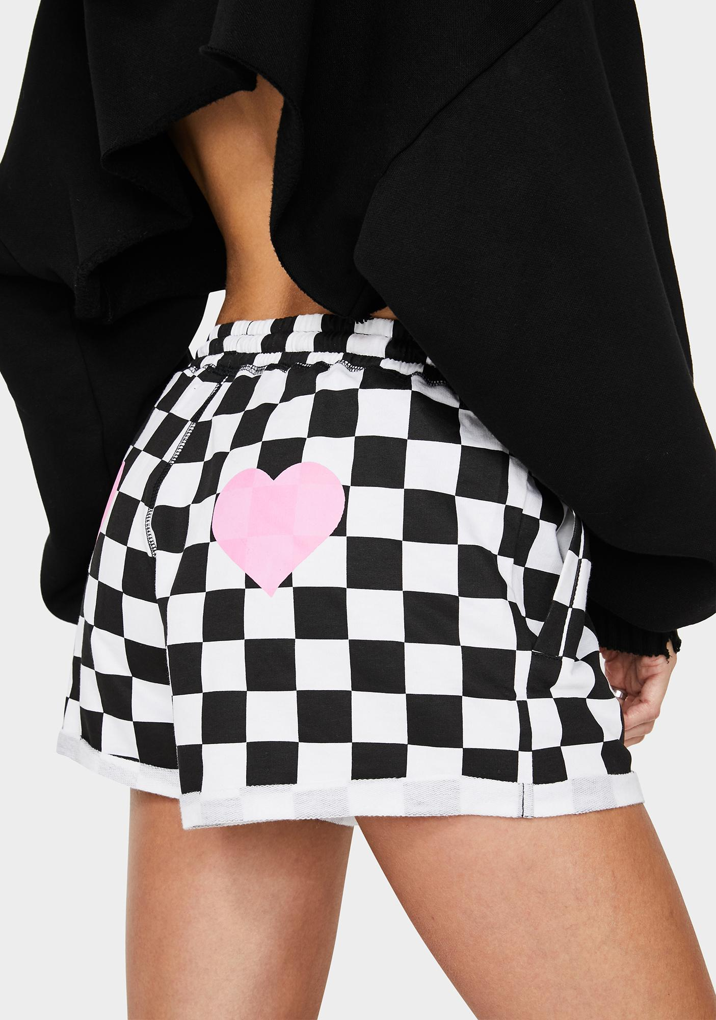 Cute Mistake Hanky Panky Pink Heart Checkered Shorts