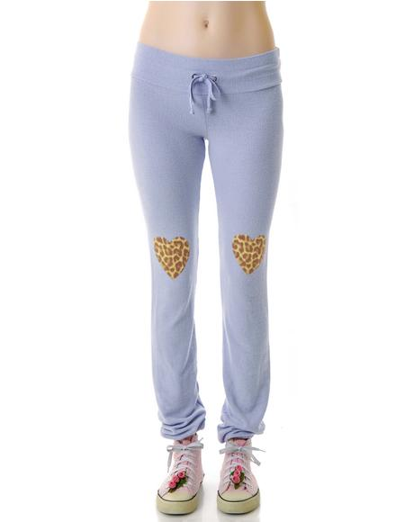 Leopard Heart Knees Malibu Skinny Sweats