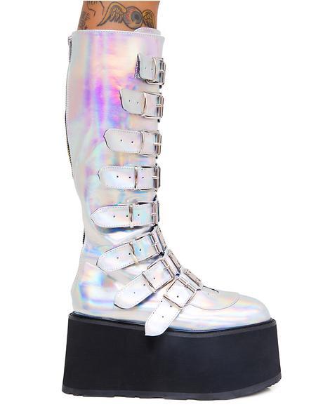 Iridescent Hologram Morpheus Platform Boots