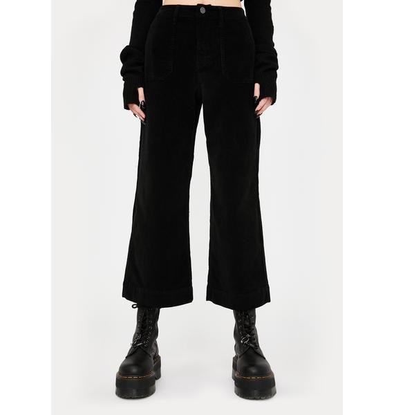 Hidden Denim Black Corduroy Wide Leg Pants
