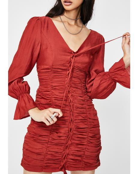 Long Sleeve Ruched Mini Dress