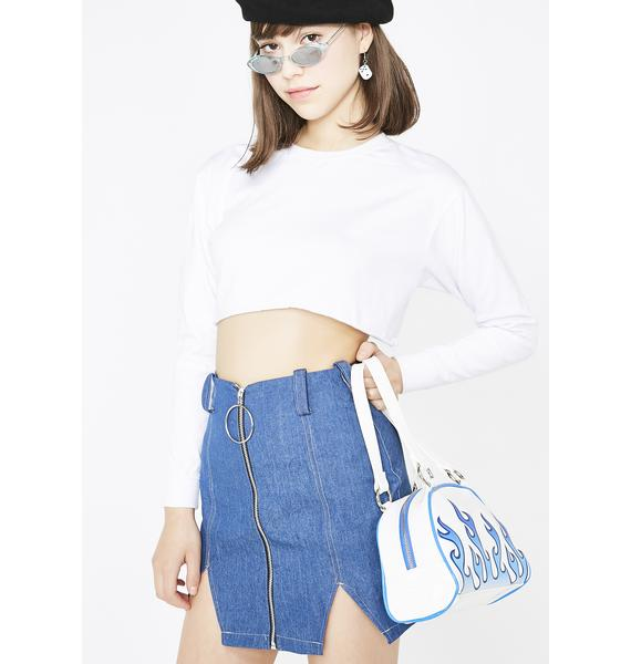 LOVE TOO TRUE Denim Split Mini Skirt